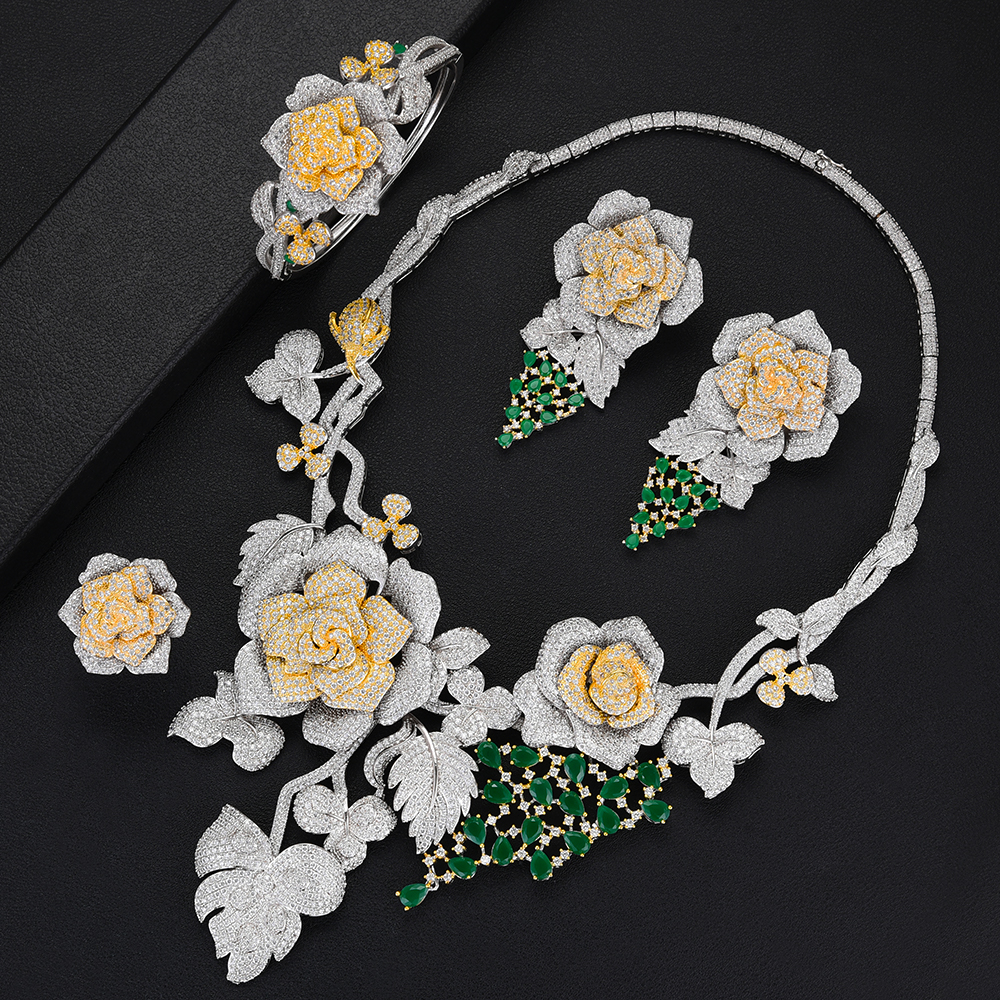 Image 3 - SisCathy Luxury Big Rose Flower Jewelry Sets For Women Wedding Party Dress Indian Bridal Cubic Zircon CZ Jewelry Sets 2019-in Jewelry Sets from Jewelry & Accessories