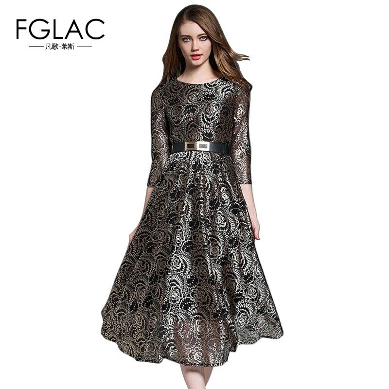 FGLAC שמלת וינטג 'כניסות חדשות 2018 האופנה האביב הולו מתוך תחרת שמלה אלגנטית Slim גבוה מותן ארוך שמלות נשים vestidos