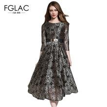 FGLAC Vintage dress New Arrivals 2018 Spring Fashion Hollow out lace dress Elegant Slim High waist long dress women vestidos