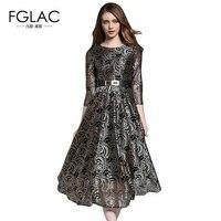 FGLAC Vintage dress Nuovi Arrivi 2017 di Modo di Autunno Scava fuori il vestito di pizzo Sottile Elegante vita Alta vestito lungo delle donne abiti