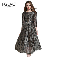 FGLAC Vintage Dress New Arrivals 2017 Autumn Fashion Hollow Out Lace Dress Elegant Slim High Waist
