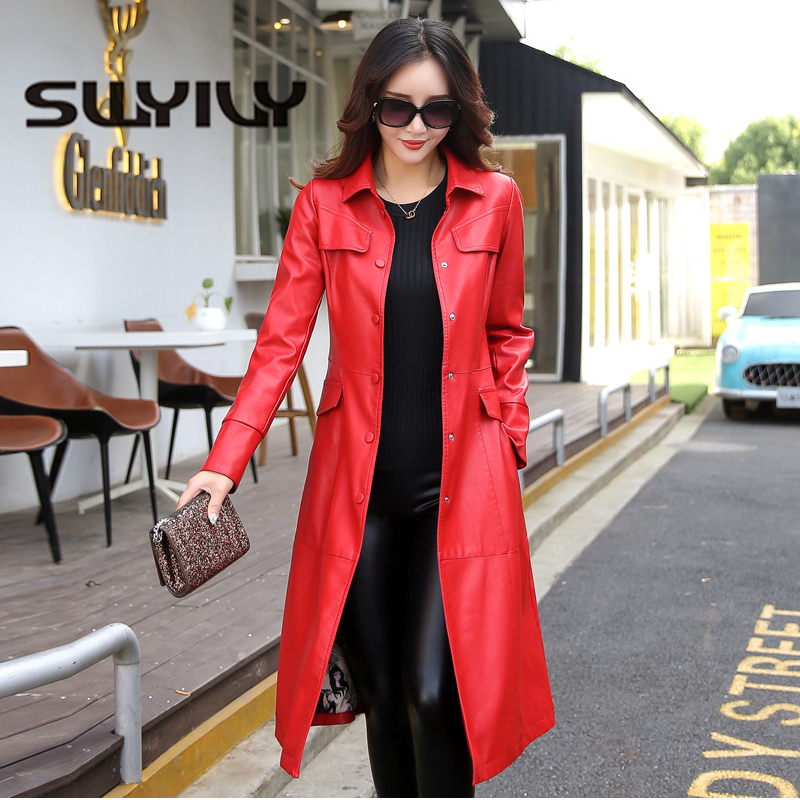 SWYIVY Women   Leather   Coats PU 5XL Plus Size Long Desgin 2018 Autumn Winter New Female Solid   Leather   Jackets Casual Woman Coat