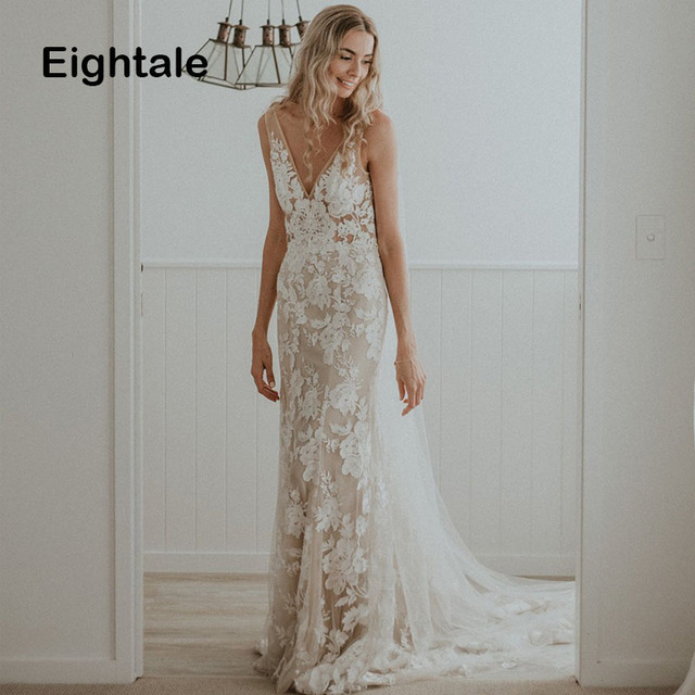 Eightale Boho Wedding Dresses 2019 V Neck Appliques Lace Sexy Backless Mermaid Bride Dress Plus Size Gowns Trouwjurk