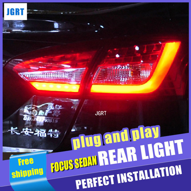 US $286 35 17% OFF|Car Styling for Ford Focus 3 Taillight assembly 2013  2014 for Focus Sedan LED Tail Light Rear Lamp DRL+Brake with hid kit  2pcs -in
