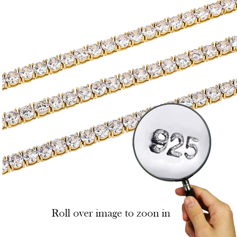 Image 5 - TOPGRILLZ Iced Zircon 3 6MM Tennis Chain Mens Hip hop Jewelry  925 Sterling Silver Gold Lobster Clasp CZ Bracelet Link 7 8 inchChain