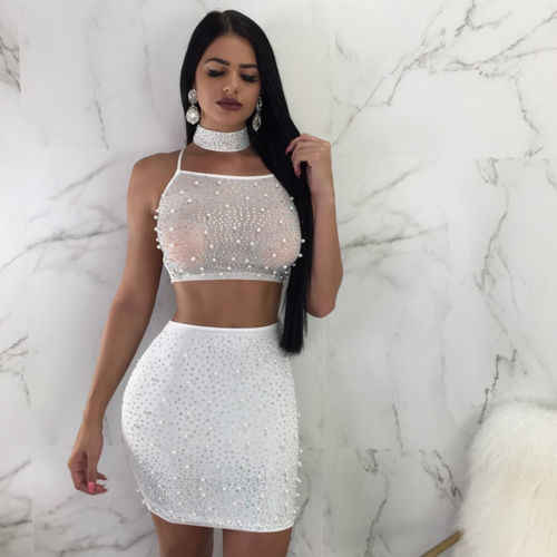 New Sexy Pear Clothes Women See Through Bodycon Skirt Mesh Bandage Crop Top Skirt Set Bandage Lady Summer Clubwear Evening Party