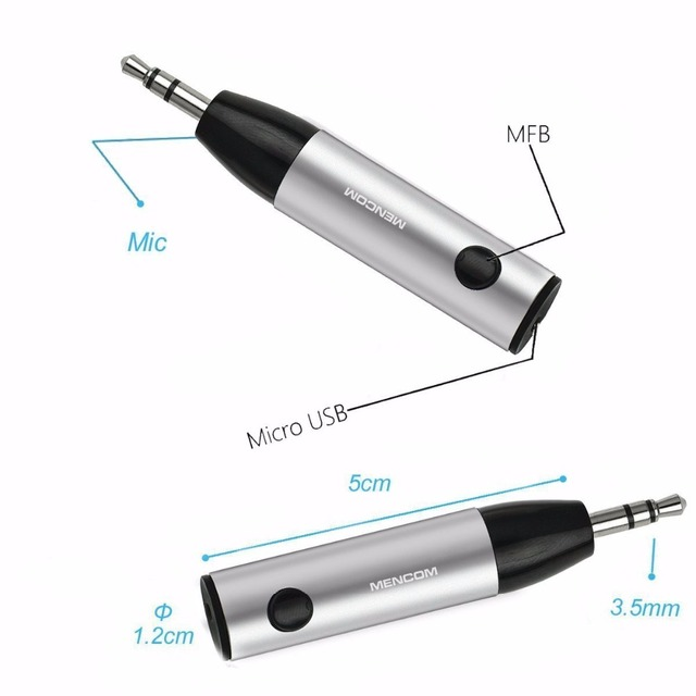 Mencom Wireless Bluetooth Receiver 3.5mm Jack Audio Bluetooth Music Receiver Adapter Car Aux Cable Free for Speaker Headphone