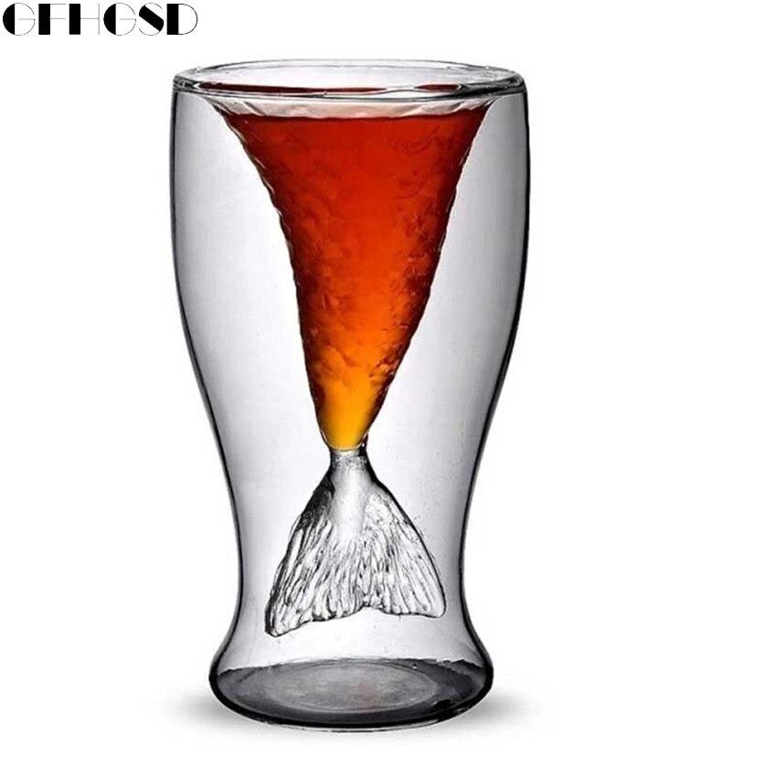 GFHGSD 100ml Mermaid Glass Vodka Shot Glass Cup Beer Mug Creative Novelty Crystal Double Wall Transparent Mermaid Shot Glass