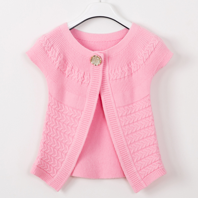 Kids 2016 New Spring Korean Girls Knitted Shawl Baby Cardigan Sweater Wild Kids Coat Waistcoat Free Shipping
