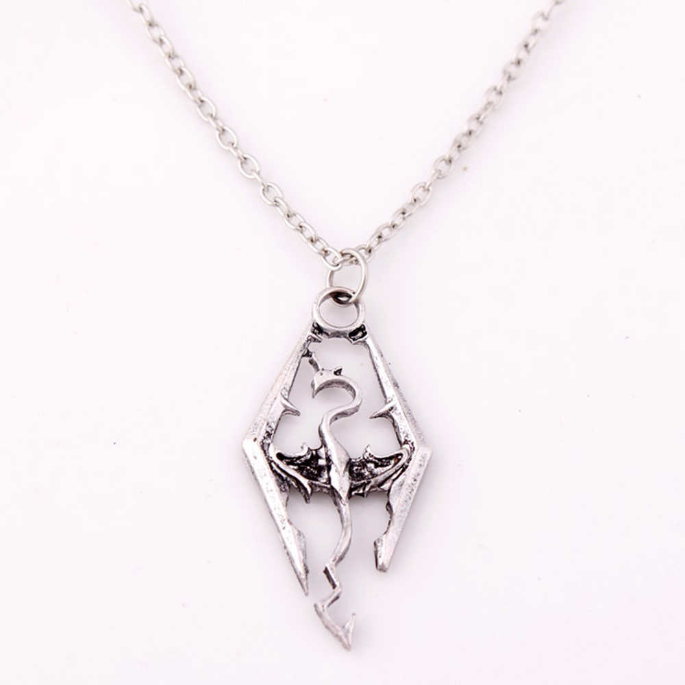 FAMSHIN New Dinosaur Pendant Necklace Skyrim Elder Scrolls Dragon Pendants Vintage Necklace for Men/Women Jewelry Worldwide Sale