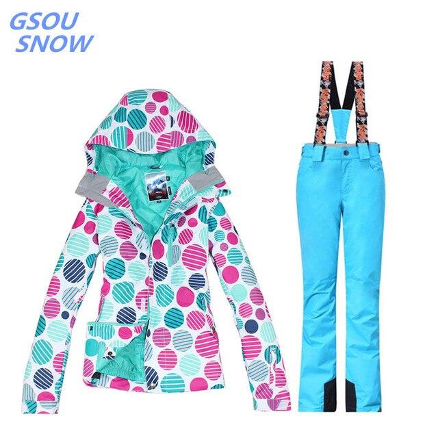 Gsou снег для Для женщин лыжная куртка Открытый Зимний лыжный костюм для Для женщин Водонепроницаемый 10000 ветрозащитный сноуборд пальто + супер теплые штаны
