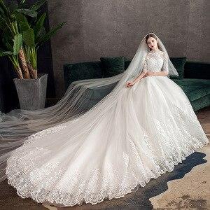 Image 4 - 2019 חדש גבוה צוואר חצי שרוול שמלת כלה סקסי אשליה תחרה Applique פשוט Slim תפור לפי מידה כלה שמלת Robe דה Mariee L