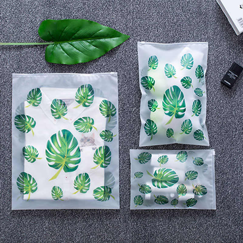 050 Fashion transparent leaf travel waterproof bag, suit clothing, underwear, shoes, make-up travel storage bag