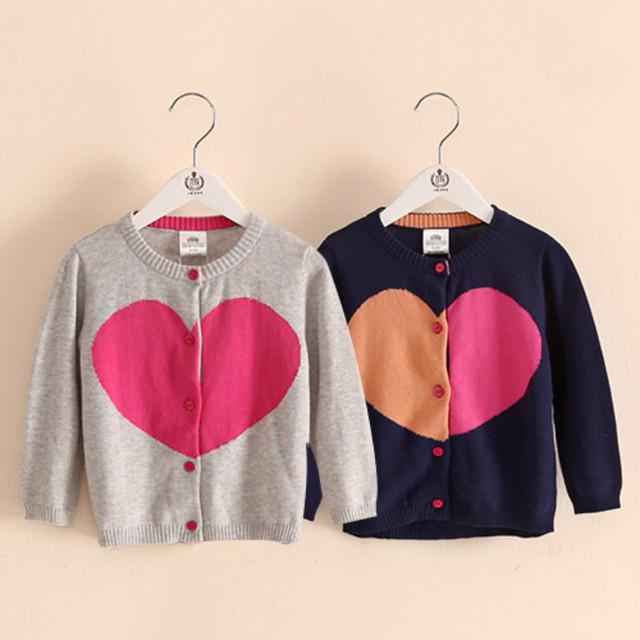 Baby girl cardigan punto 2016 primavera ropa de los niños Casual Kids Clothes capa del suéter del niño