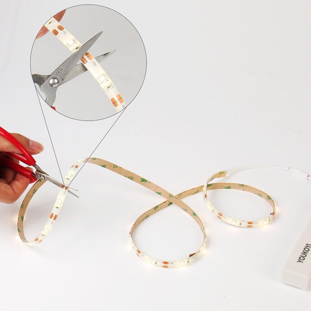 Flexible 12v LED Strip Battery Powered Waterproof LED Strip Light 4000K Warm White with Motion Sensor for Shelf Cabinet Kitchen