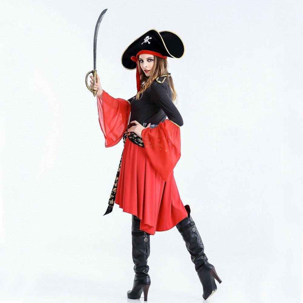 Купить с кэшбэком Free shipping Women Pirate dress 2018 New Halloween Costume Suit adult Cosplay dance party uniform