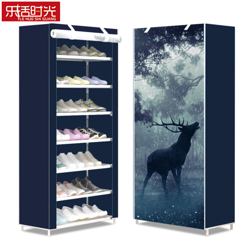 Simple Non woven Shoe Cabinet 8 Tier Stain Steel Frame Can be Moved Shoe Rack Living Room Wall Shoe Organizer Space Saver стоимость