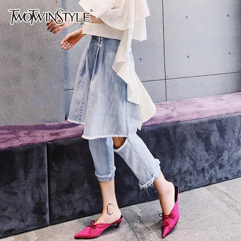 TWOTWINSTYLE Women's Jeans Summer Big Hole Patchwork High Waist Cuffs Long Denim Pants 2018 Fashion Female Harajuku Clothing