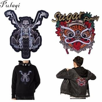 Pulaqi, parches de hierro para ropa estilo chino para motocicleta Punk, parches brioderados para moteros, bolsos DIY para hombres, ropa F
