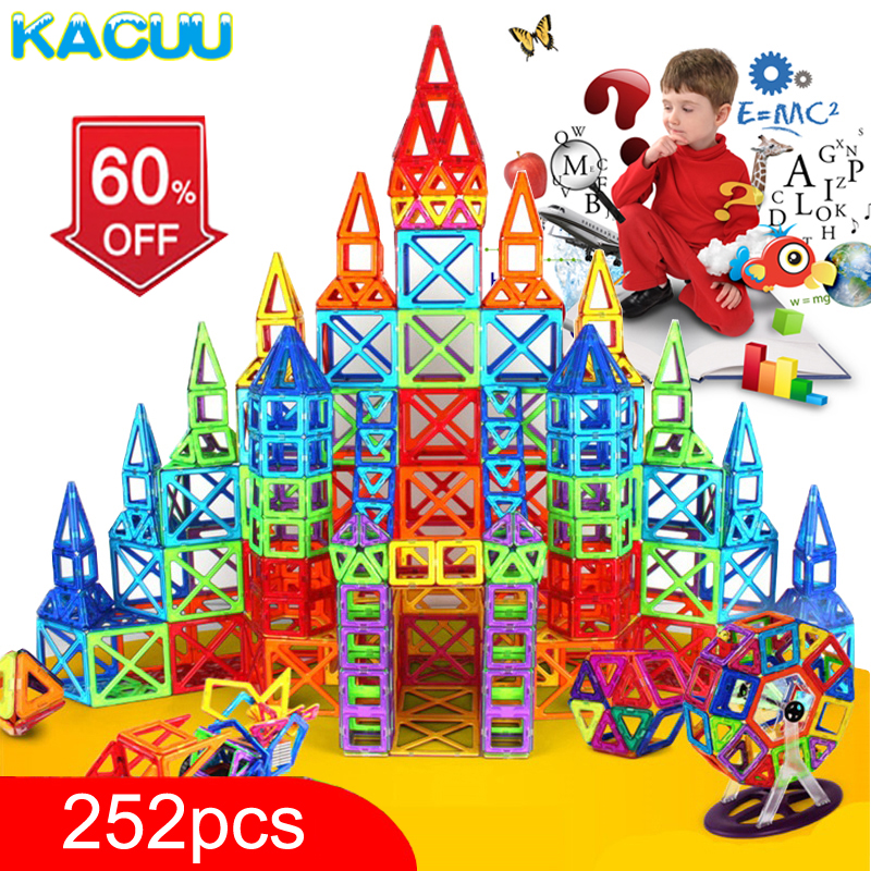 KACUU 252pcs Mini Magnetic Designer <font><b>Construction</b></font> Set Model & Building Toy Plastic Magnetic Blocks Educational Toys For Kids Gift