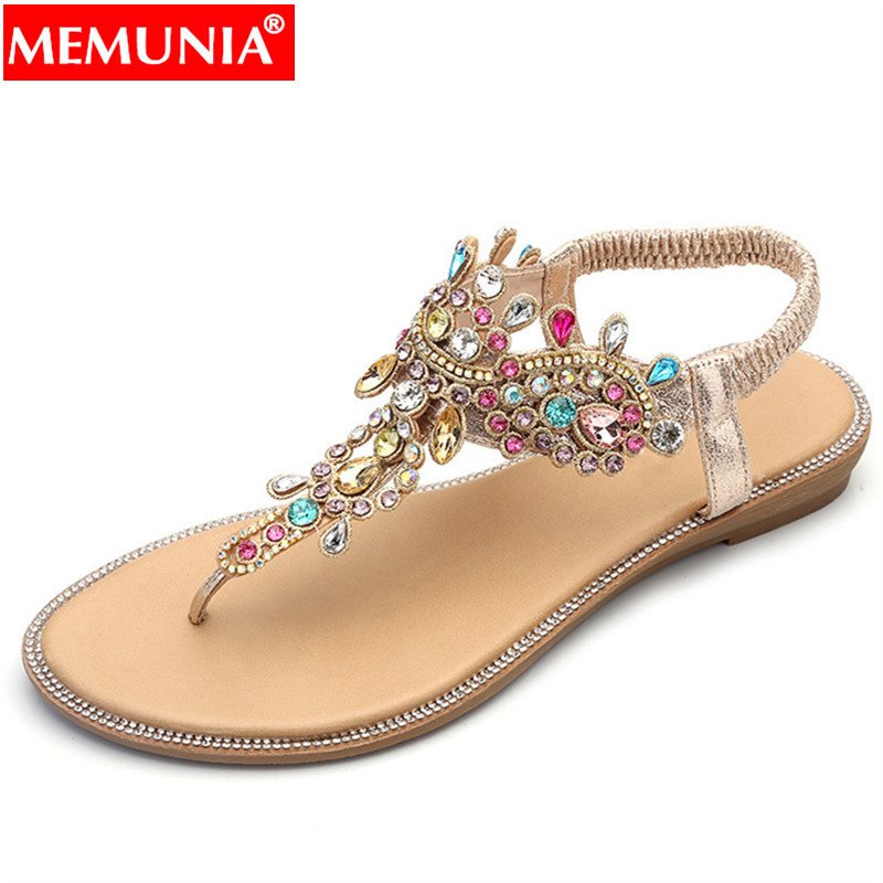 MEMUNIA Ladies Shoes Sandals Wedges Women Flip-Flops Crystal Low-Heels Comfortable Fashion