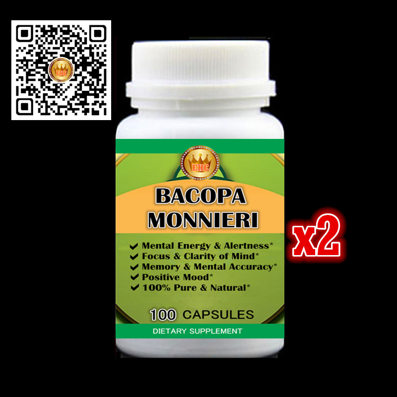 500MG 200PCS Bacopa Monnieri Extract capsules Natural Brain Function Support - Memory, Focus & Clarity Formula - Free shipping now foods candida support 90 veg capsules free shipping