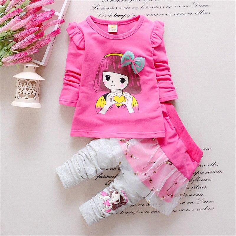 Nouveau arrivé bébé fille vêtements ensemble enfants dessin animé fille T-shirt + pantalon enfant arc vêtements loisirs costume bonbons couleur Floral vêtements