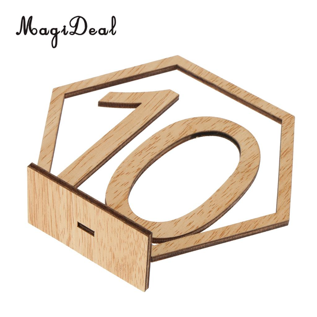 20pcs Set Wooden Freestanding 1-20 Table Number Sign Stand Wedding Table Decor