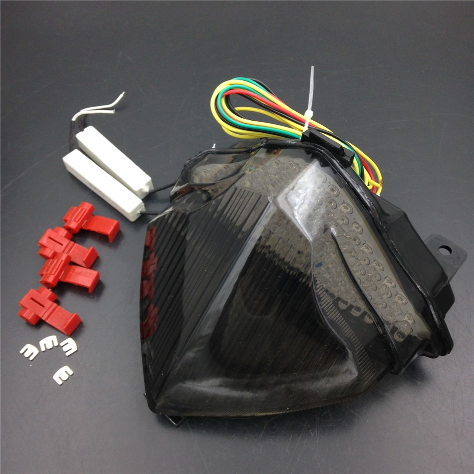 Aftermarket free shipping motorcycle parts LED Tail Brake Light turn signals for Yamaha YZF R1 YZF-R1 2004 2005 2006 Smoke unpainted motorcycle tail rear fairing parts for yamaha 2004 2005 2006 yzf r1 abs plastic
