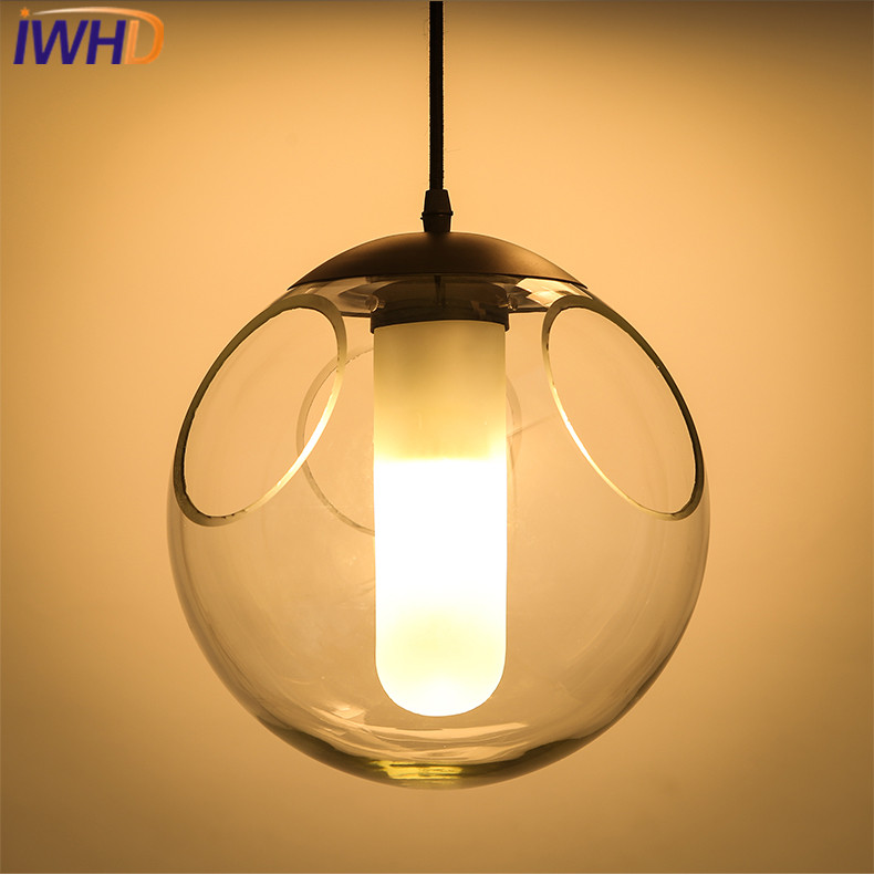 IWHD Modern Pendant Lamp Simple Glass Ball Hanglamp Home Lighting Fixtures Dining Room Bar Pendant Lights Suspension Luminaire tz modern pendant lights suspension luminaire noveity hanglamp for home lighting led vintage pendant lamp glass lampshade