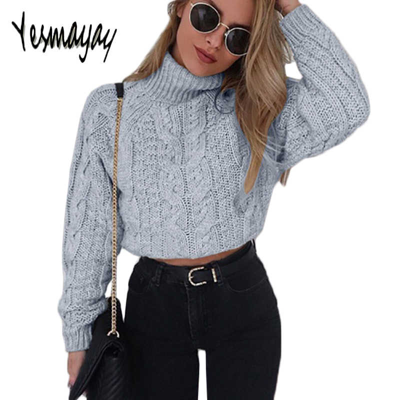 Turtleneck Sweater Women Pullover Knitted Long Sleeve Crop Top Short Womens  Ribbed Sweater Autumn Winter Pull e422133e260e