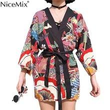 NiceMix 2019 Plus Size Tops Kimono Cardigan Print Cartoon Streetwear Women Loose Sun Protection Blouse Beach Wear New Blouse стоимость