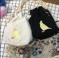 Lovely birds bordado estilo japonés bolsa de mensajero de las mujeres pure color hombro cruz bolso de la moneda de las mujeres mori chica