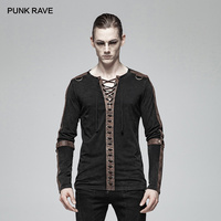 PUNK RAVE Men's Steampunk Long Sleeve Fashion Personality T Shirt Iron Motocycle Casual Men Tees Streetwear