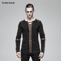 PUNK RAVE Men's Steampunk Long Sleeve Fashion Personality T Shirt Iron Motocycle Casual Men Tees Streetwear