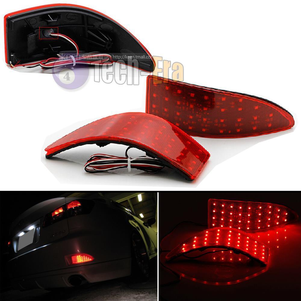 CYAN SOIL BAY Red Lens 33-SMD LED Rear Bumper Reflectors Lights For 2006-13 Lexus IS250 IS350 GSE20 dongzhen fit for nissan bluebird sylphy almera led red rear bumper reflectors light night running brake warning lights lamp