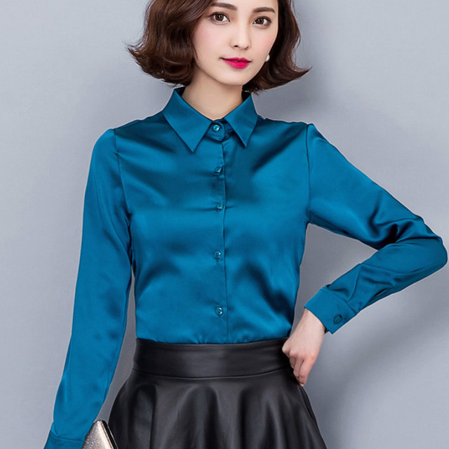 fcccbb838616a7 2016 new Peacock blue Satin Shirt Women Long sleeve silk Blouses women work  wear uniform office shirt simple body Chiffon top