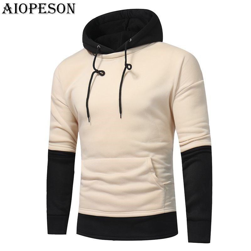 AIOPESON Autumn Winter Fashion Mens Hoodies Casual Patchwork Long Sleeve Sweat Shirts Solid Slim Hooded Hoodies Men Plus M-3XL