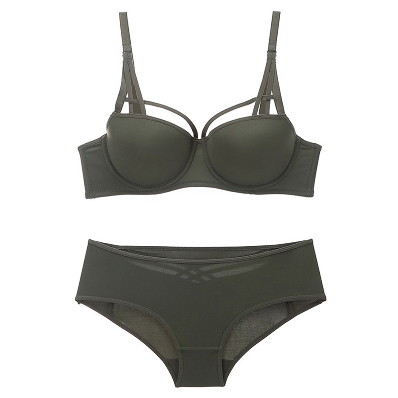 Buy Sexy Seamless Bra panty set Lingerie Strappy Solid Push underwire underwear women Army Green Intimates  Hollow panty