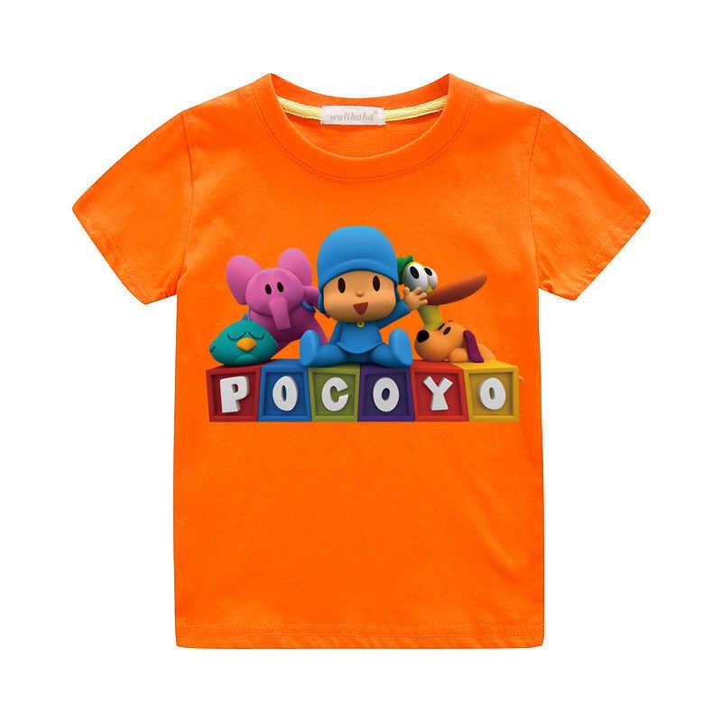 Crianças Verão Impressão Camisetas Das Meninas dos Meninos Bonitos Dos Desenhos Animados Pocoyo 3D Tshirts Engraçados Criança Traje Casual T Top Roupas Para O Bebê ZA067