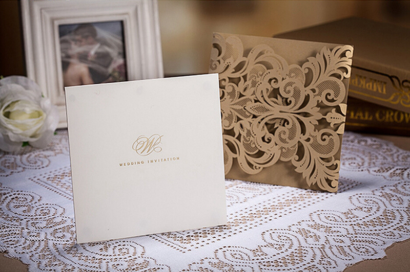 hot western style pearl gold lace with flower pattern wedding invitation anniversary invitation card100pcslotcw3109 in cards invitations from home