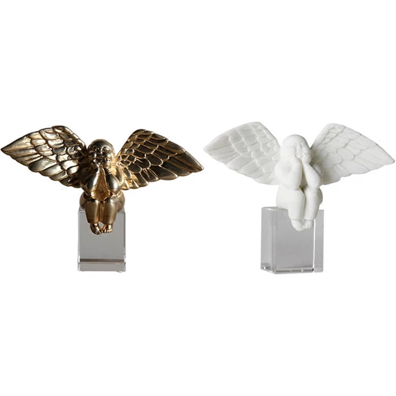 exquisite white angel home crafts decoration with wings Crystal angel ornaments sculpture modern Artexquisite white angel home crafts decoration with wings Crystal angel ornaments sculpture modern Art