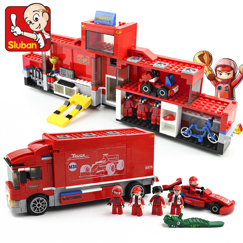 Sluban 557Pcs F1 Series 2in1 Technic F1 Formula Racing Car Transport Truck Building Model Blocks Kids Toys Compatible with Legoe newacalox multifunction self adjustable terminal tool kit wire stripper crimping pliers wire crimp screwdriver with tool bag