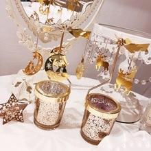 Романтический вращающийся светильник для чая, металлический светильник для свечей, держатель для свечей, карусель, украшение для дома