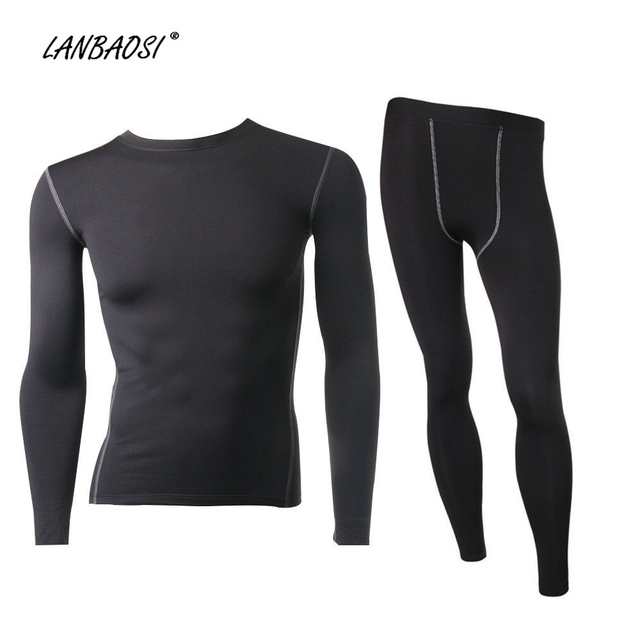 90c9d3e4d156d LANBAOSI 2Pcs Men's Compression Running Set Thermal Fleece Underwear Tights  Base Layer Shirts Pants for Jogging Fitness Cycling
