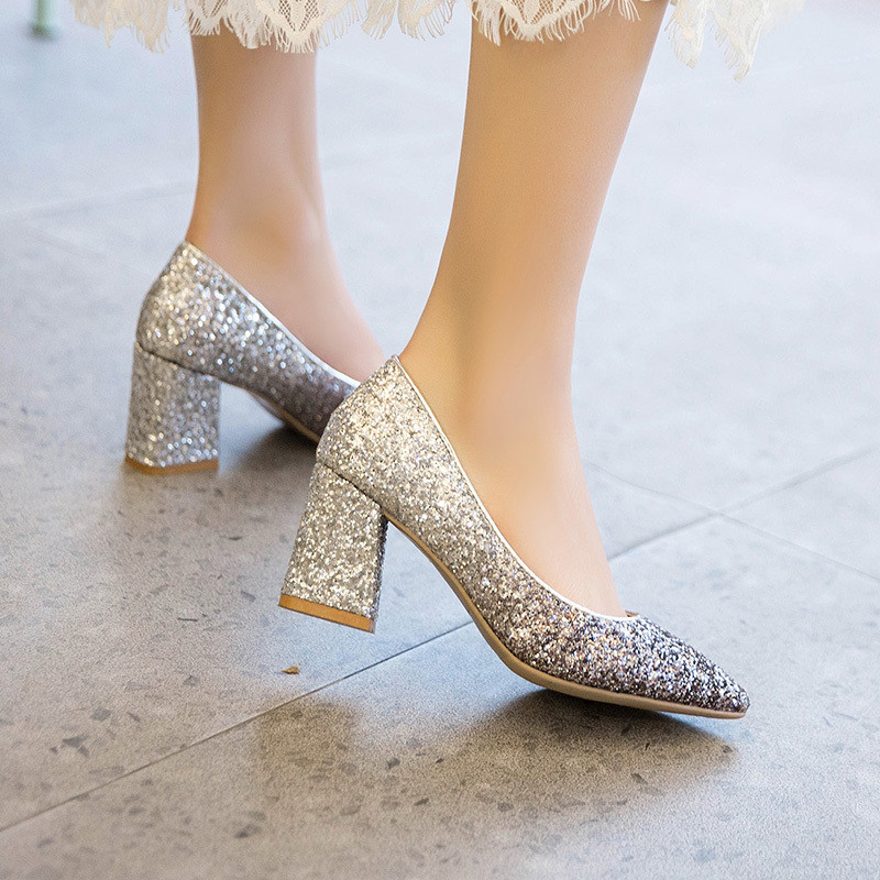 Mixed Colors Bling High heels pumps women shoes 2019 spring autumn shoes women Fashion Shallow Pointed Square heel Wedding shoes 2