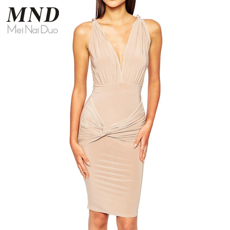 Hot Sale Summer Women Elegant Cocktail Party Dress Sexy V-neck Sleeveless Pleated Sheath Bodycon Woman Dress (3)