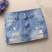2019 New Women Summer Denim Skirts Fashion Mid Waist Ripped Hole Skirts Casual Mini Jeans Skirt High Quality Blue Sexy Skirts