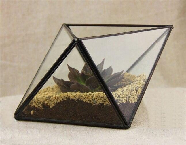 Petit Terrarium géométrique en polyèdre, Terrarium en verre pour plantes grasses et plantes