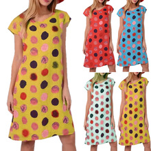 Summer Women Dress New Style Printed Round Neckline Polka Dot Bohemian